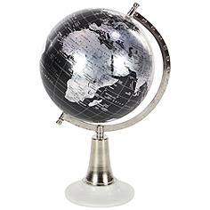 "Dark Brown Metal 15"" High Decorative Spinning Globe"