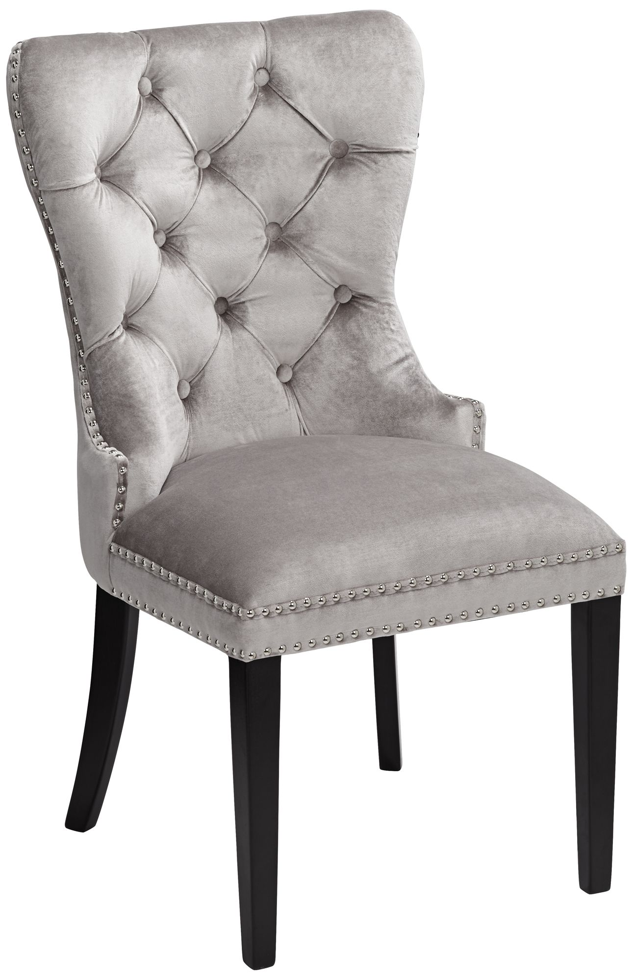 Etonnant Euphoria Tufted Gray Velvet Dining Chair