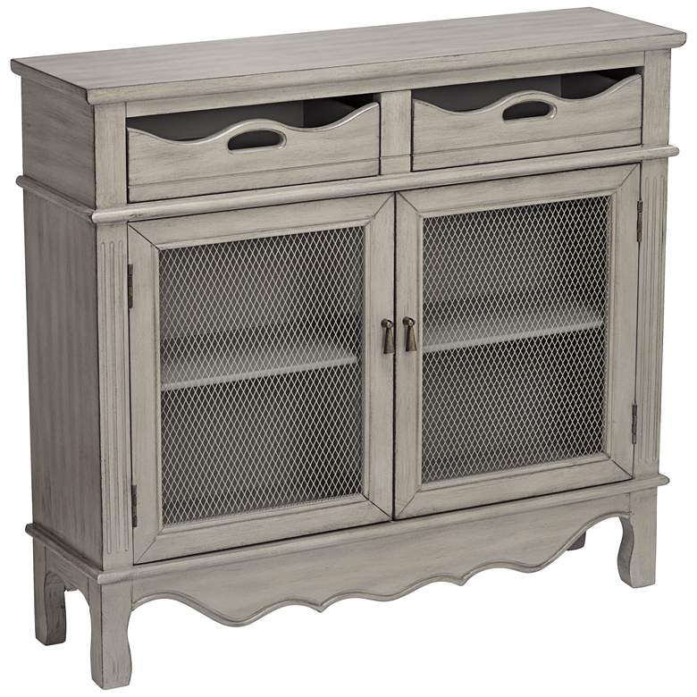 "Mansfield 39 3/4"" Wide Antique Taupe 2-Door Storage Cabinet"