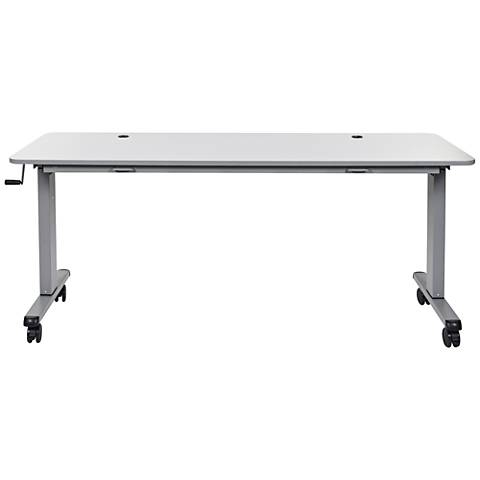 Laura Gray Large Adjustable Flip Top Table with Crank Handle