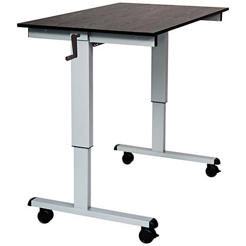 Upas Silver and Black Small Crank Adjustable Stand Up Desk