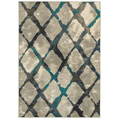 Highlands 6613A Gray and Blue Area Rug