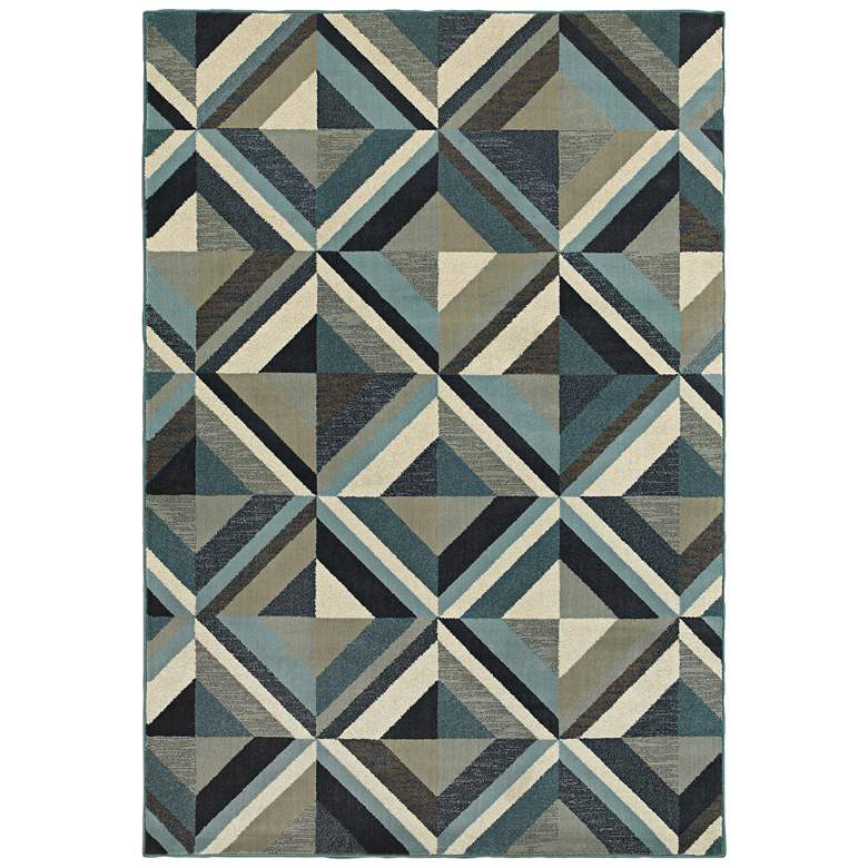 """Linden 7902A 5'3""""x7'6"""" Blue and Gray Area Rug"""