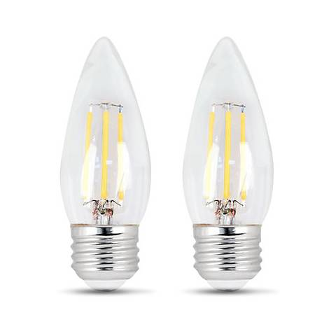 35W Equivalent Clear 4.5W LED Dimmable Torpedo Bulb 2-Pack