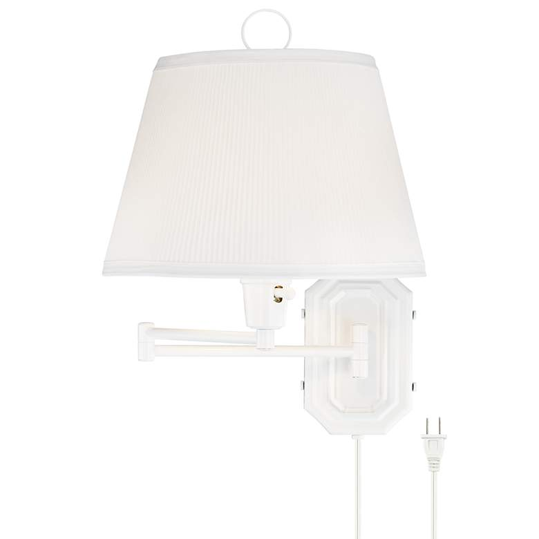 Amelie White Swing Arm Plug-in Wall Lamp by Barnes and Ivy