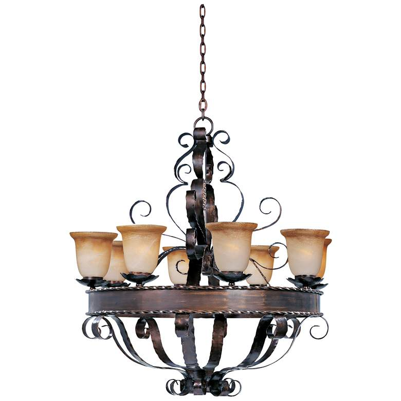 "Aspen Collection 35"" Wide Eight Light Traditional Chandelier"