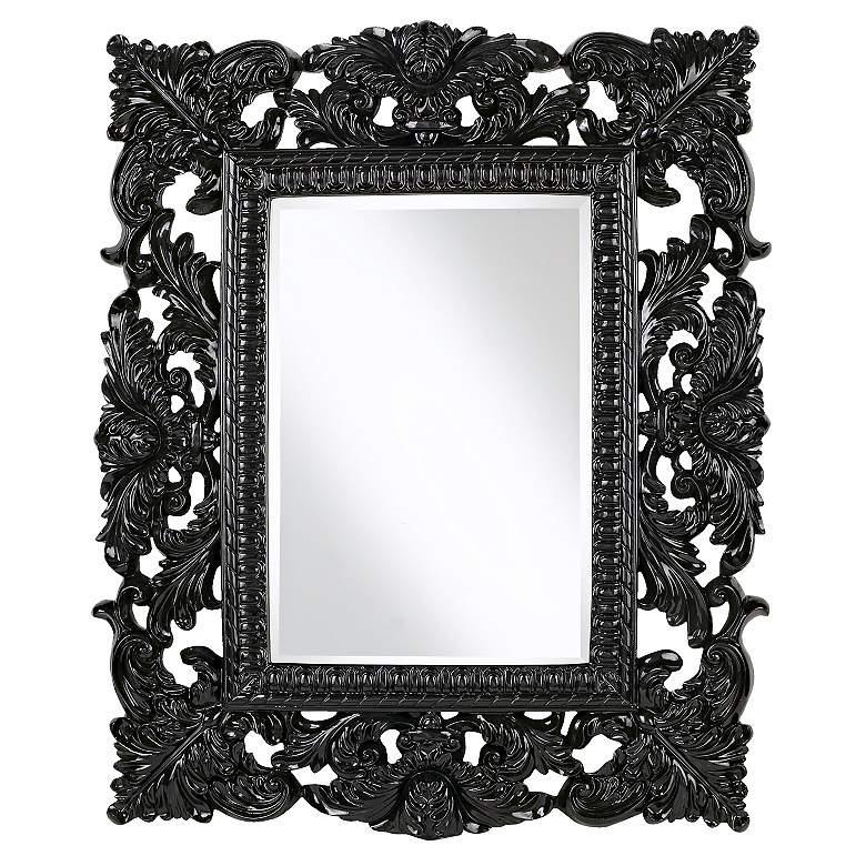 Black Finish Openwork Rectangular Wall Mirror