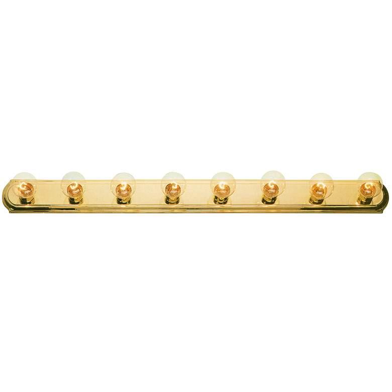 "Polished Brass 48""Wide Eight Light Bathroom Light Fixture"