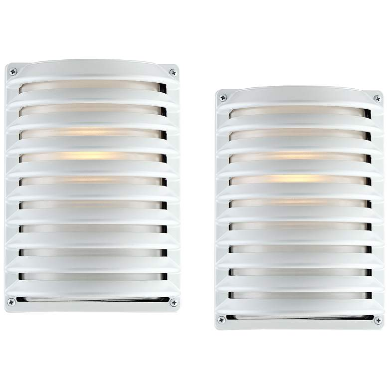 "John Timberland® White Grid 10"" High Outdoor Wall Light Set of 2"