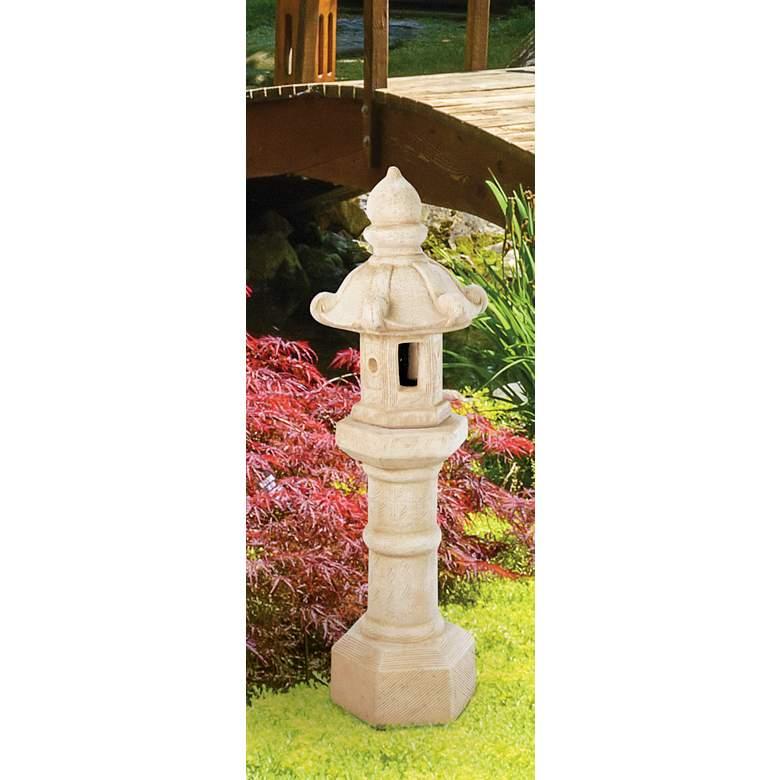 """Oriental Lantern 40"""" High Sorrento Sandstone Outdoor Statue"""