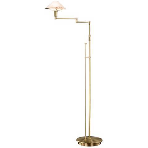 Brushed Brass Alabaster Brown Glass Holtkoetter Floor Lamp