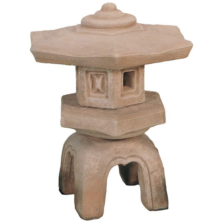 """Hexagon Lantern 18"""" High Etruscan Umberstone Garden Accent"""