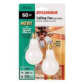 Sylvania 2 Pack 60 Watt Candelabra Ceiling Fan Light Bulbs