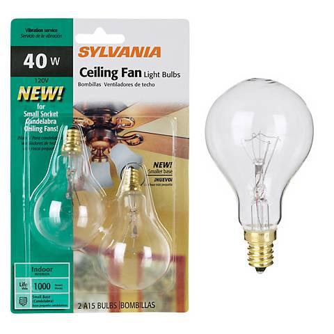 Candelabra Base A15 2-Pack 40 Watt Clear Ceiling Fan Bulbs