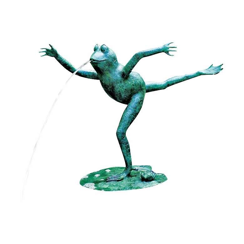 """Arabesque Frog 23"""" HIgh Cast Brass Water Spitter Fountain"""