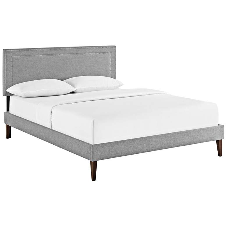 Jessamine Light Gray Full Platform Bed with Square Legs
