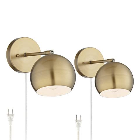 Antique Brass Sphere Shade Pin-Up LED Wall Lamps Set of 2