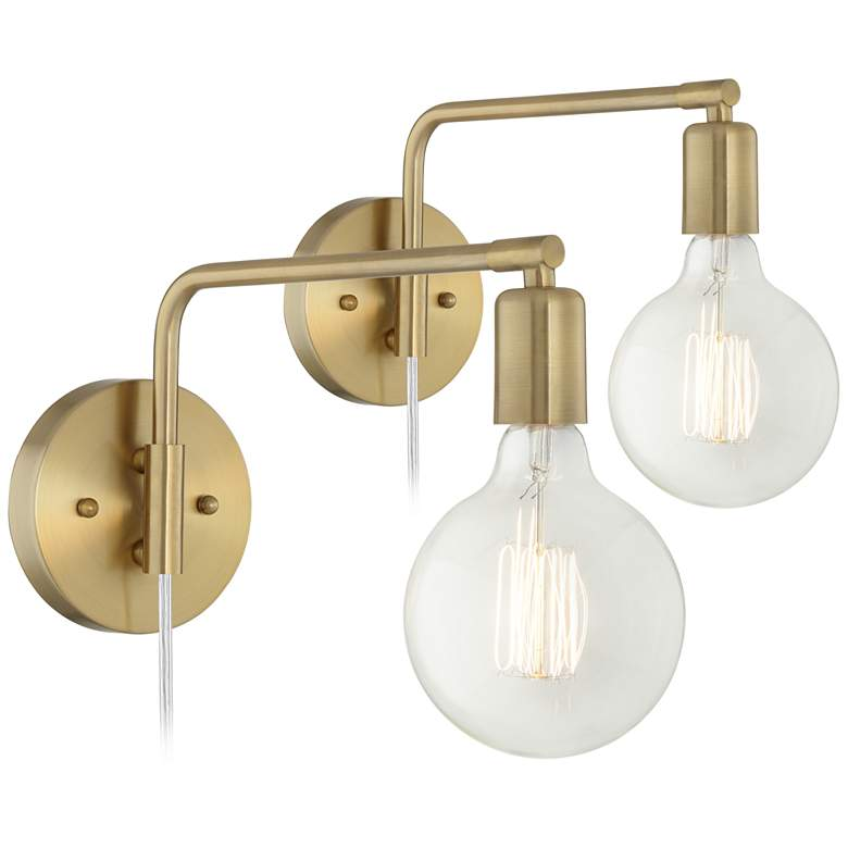 Amara Antique Brass Wall Lamp Set of 2