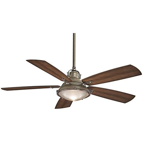 "56"" Minka Aire GrotonWeathered Aluminum Outdoor Ceiling Fan"