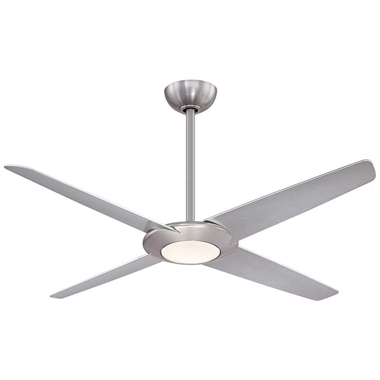 "62"" Minka Aire Pancake XL Brushed Nickel LED Ceiling Fan"