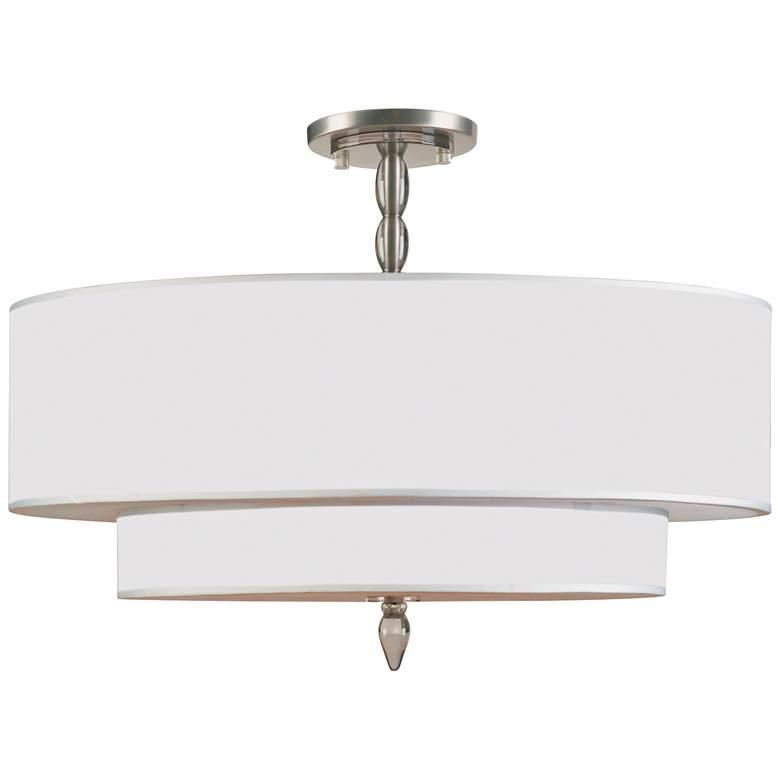 "Crystorama Luxo 26"" Wide Satin Nickel Ceiling Light"