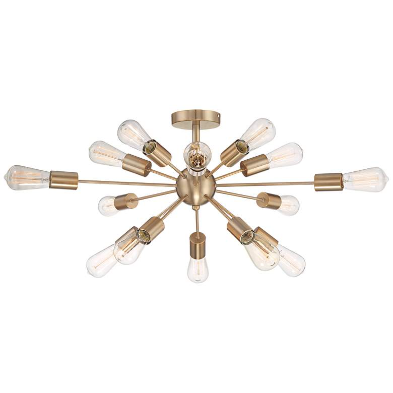 "Possini Euro Hemingson 32""W Gold 15-Light LED Ceiling Light"