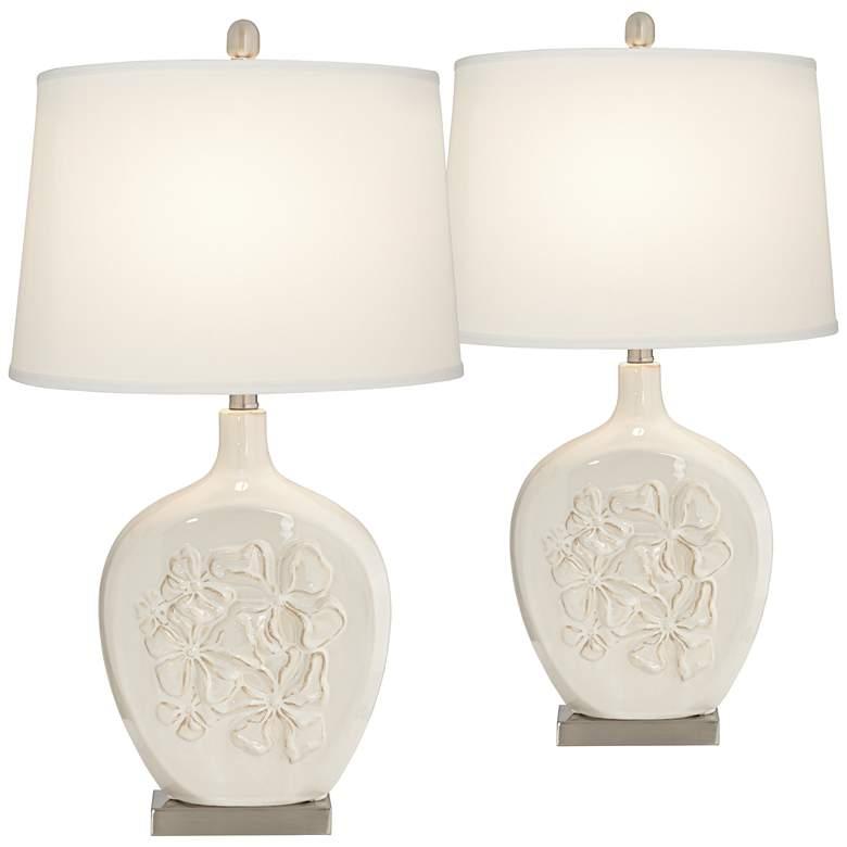 Ewan Ivory Ceramic Table Lamp Set of 2