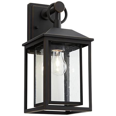 """Califa 15 1/4"""" High Bronze Textured Glass Outdoor Wall Light"""