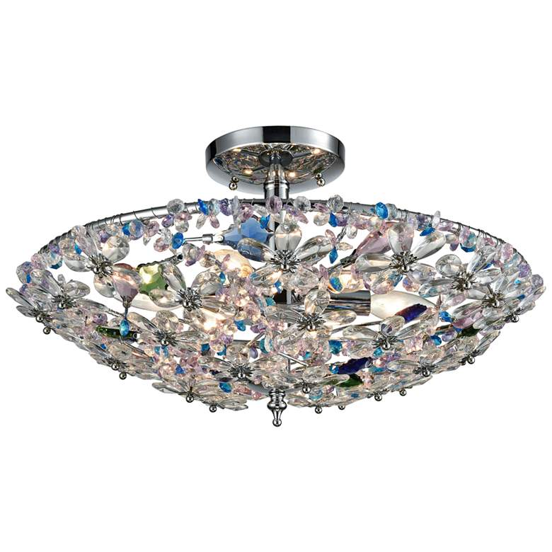 "Crystallus 20"" Wide Polished Chrome 6-Light Ceiling Light"