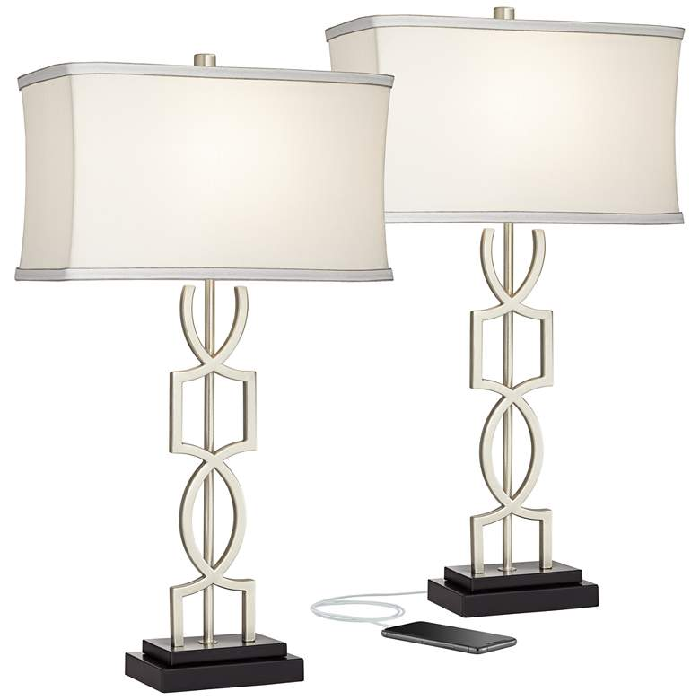 Evan Modern Metal USB Table Lamps Set of