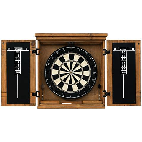 American Heritage Gateway Wood Dart Board Cabinet Set