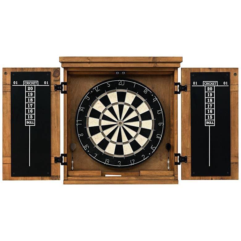 American Heritage Gateway Wood Dart Board Cabinet Set