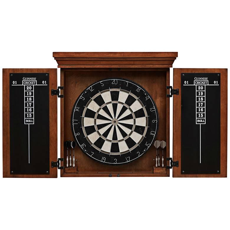 American Heritage Guinness Brown Wood Dart Board Cabinet Set