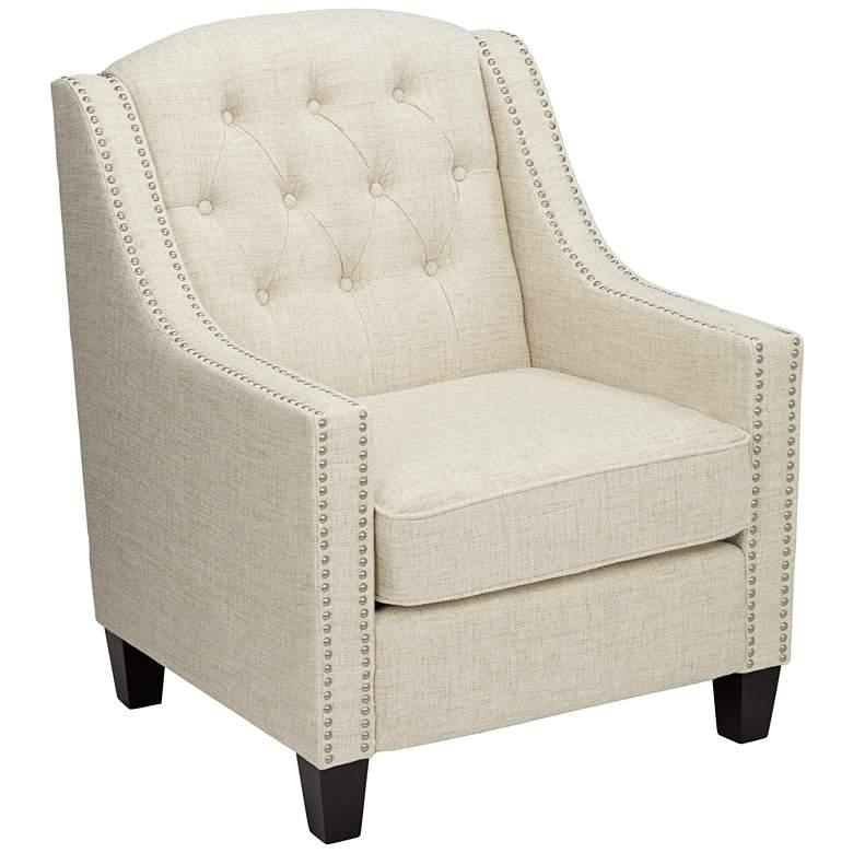 Tivoli White Linen Tufted Armchair