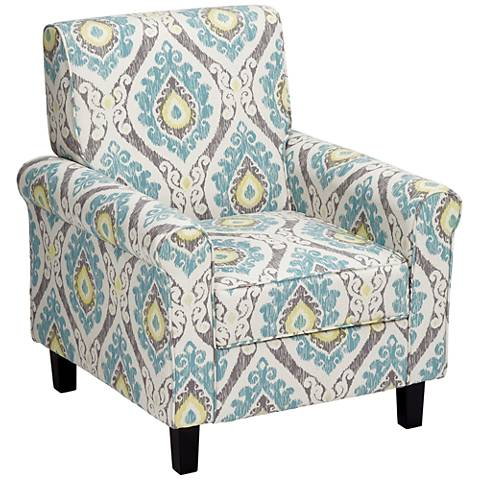 Lansbury Multi-Color Ikat Print Fabric Accent Chair