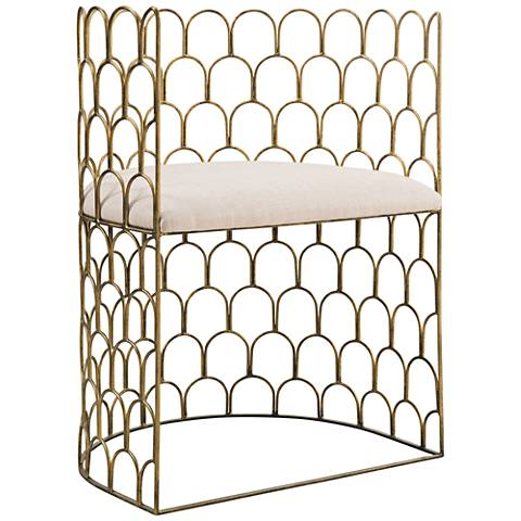 Abby Gold Metal and Beige Linen Armchair