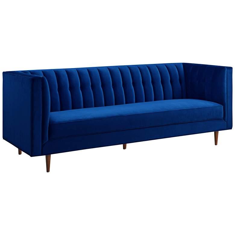 """Sebastian 88 1/2"""" Wide Navy Velvet Tufted Sofa"""