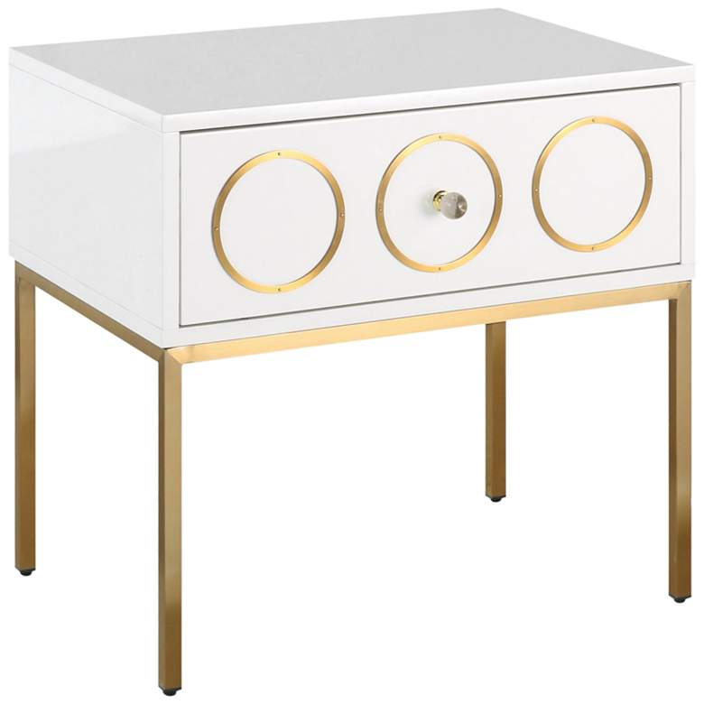 "Ella 25"" Wide White Lacquer and Brushed Gold"