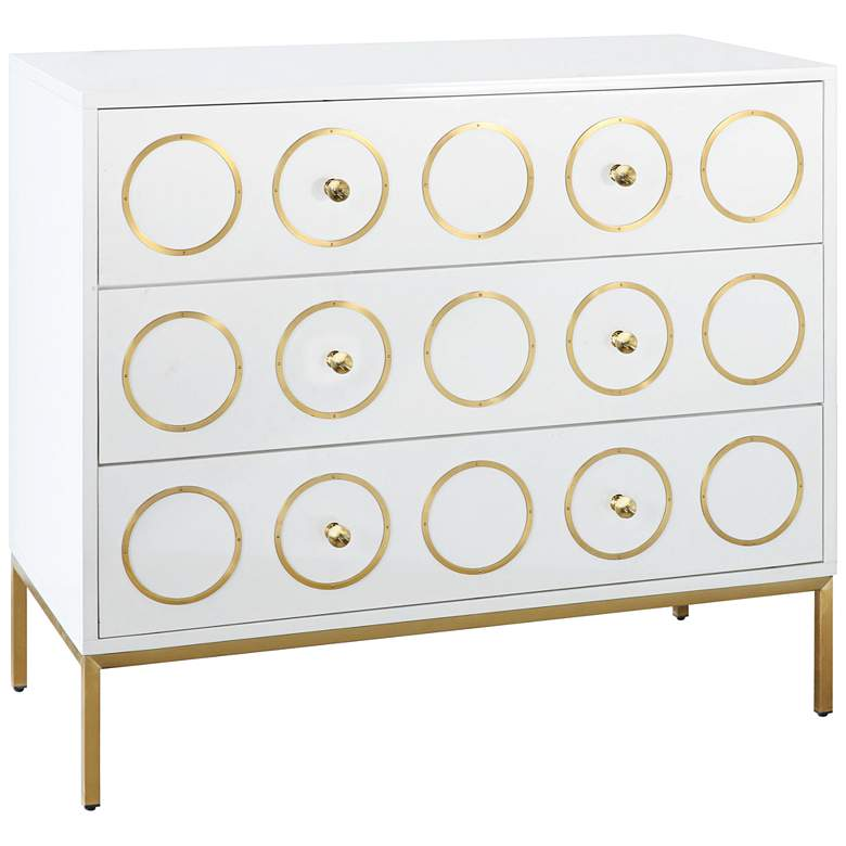 "Ella 40"" Wide White Lacquer 3-Drawer Luxe Modern"