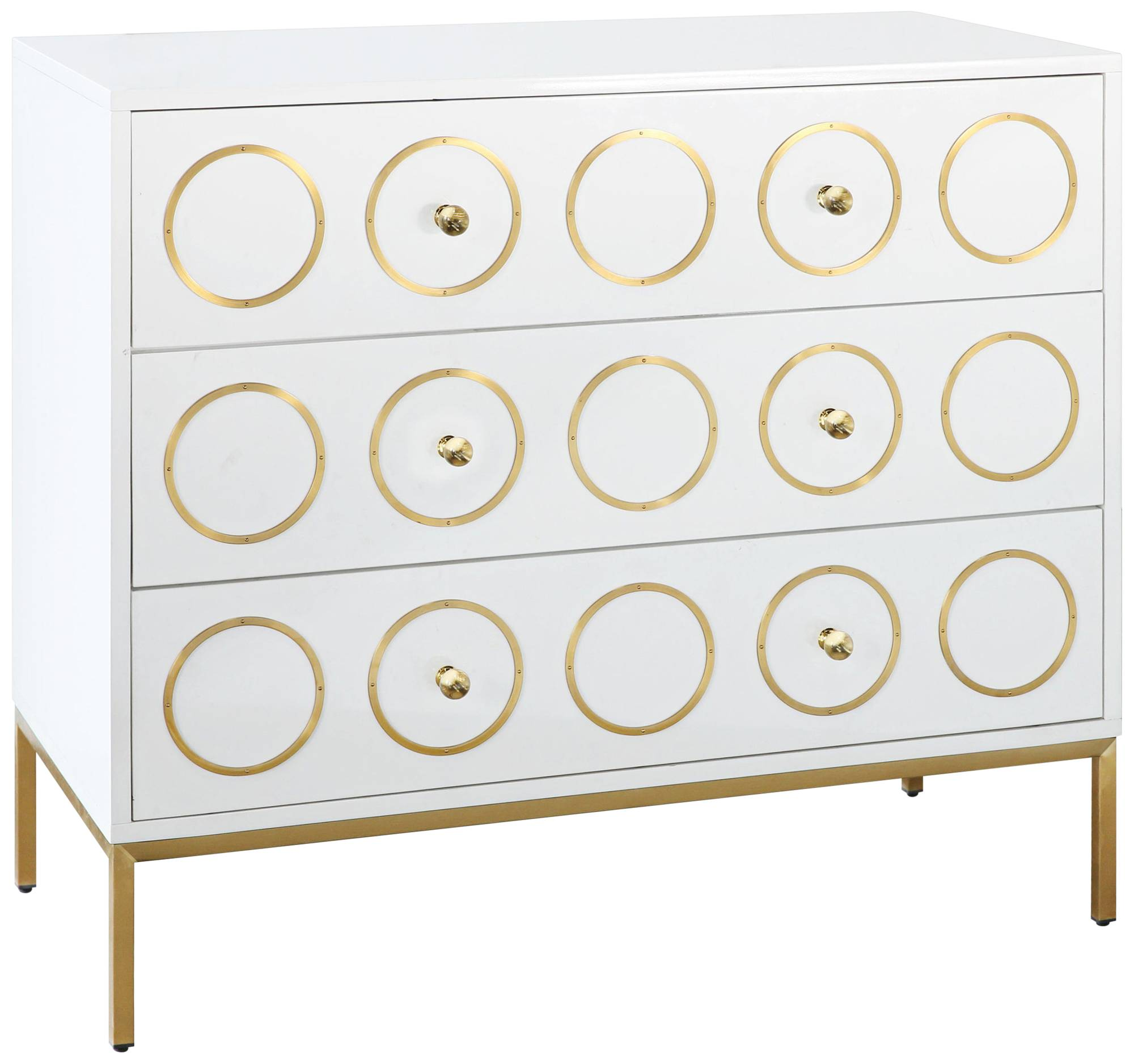 Ella High Gloss White Lacquer w/ Brushed Gold 3-Drawer Chest