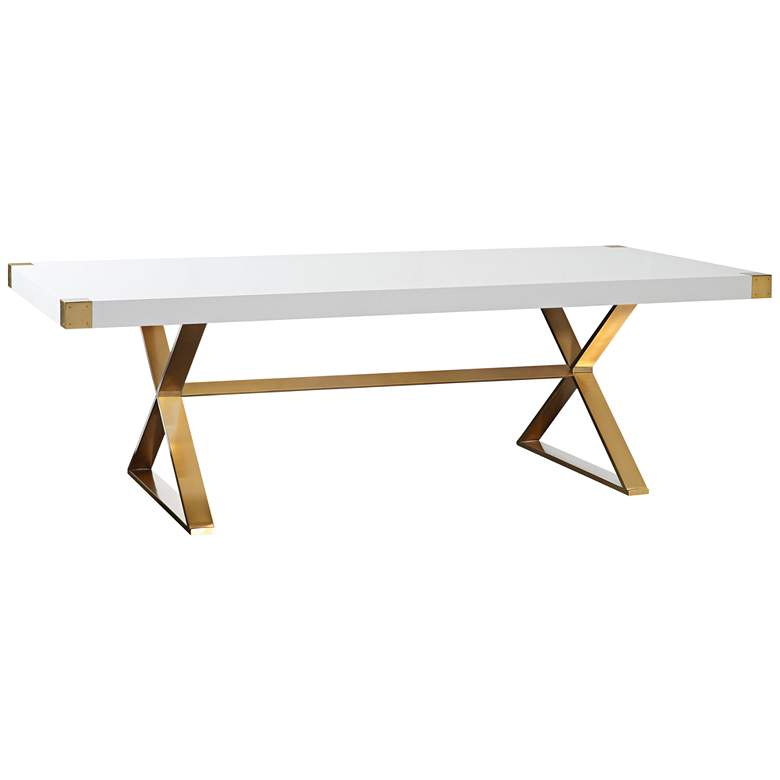 "Adeline 96""W High Gloss White Lacquer and Gold Dining Table"
