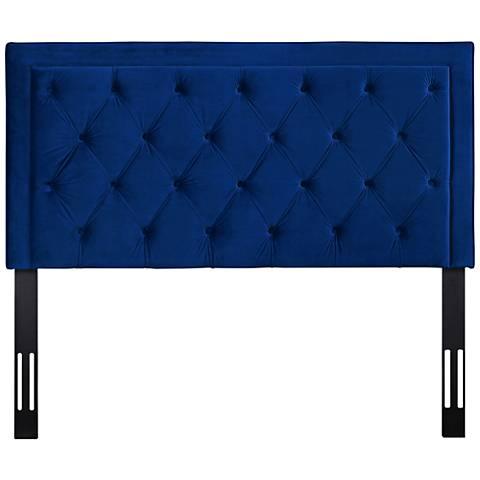 Nacht Navy Velvet Upholstered Headboard