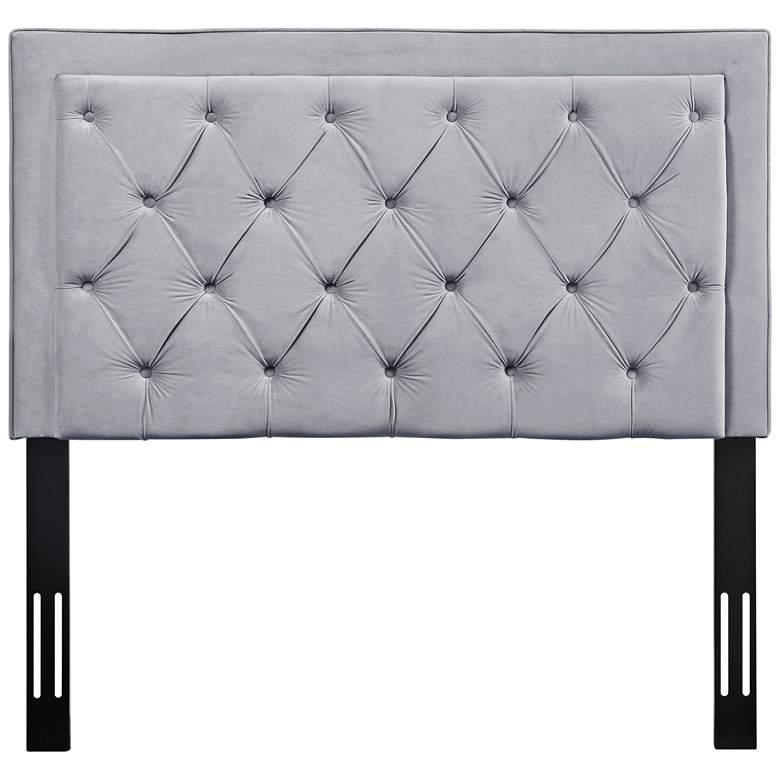 Nacht Gray Velvet Full Upholstered Headboard