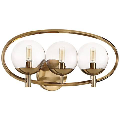 """Craftmade Piltz 23"""" Wide Satin Brass 3-Light Bath Light"""