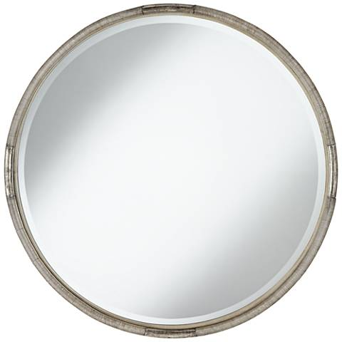 "Shara Tribal Coil Antique Silver 34"" Round Wall Mirror"