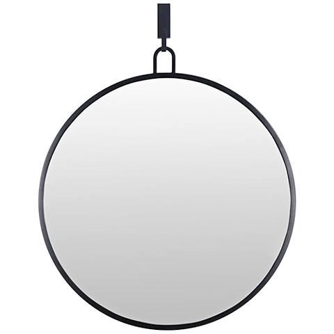 "Varaluz Casa Eli Black 30"" x 32"" Round Stopwatch Wall Mirror"