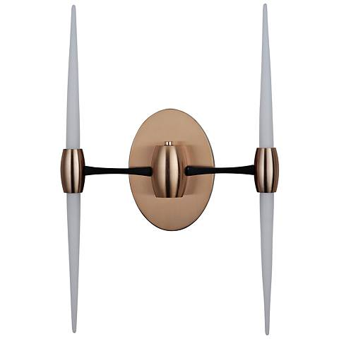 """Spire 21""""H Flat Black and Satin Brass 2-Arm LED Wall Sconce"""
