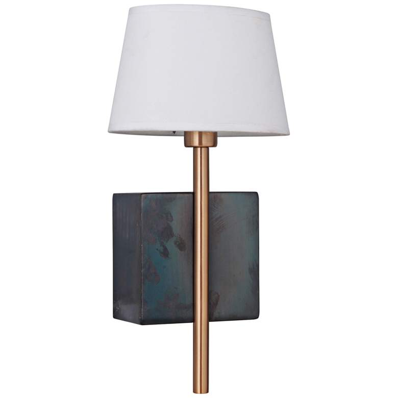 """Parker 15"""" High Fired Steel and Satin Brass Wall Sconce"""