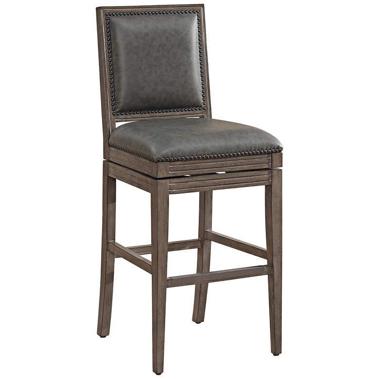 "Bryan 30"" Charcoal Bonded Leather Swivel Barstool"