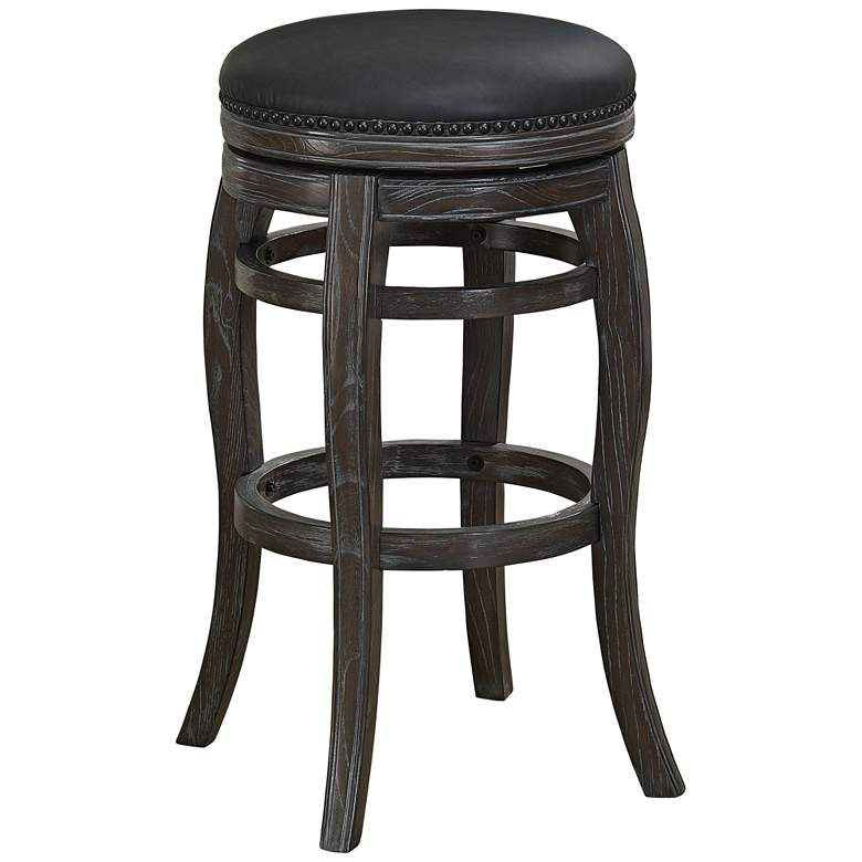 "Charlotte 30"" Graphite Bonded Leather Swivel Barstool"